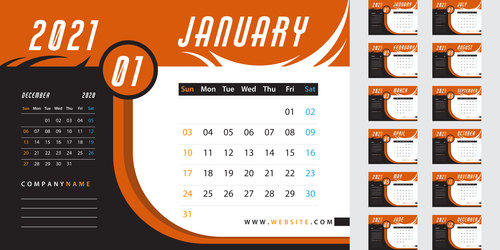 Orange desk calendar 2021 vector