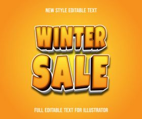 Orange winter sale text style effect vector