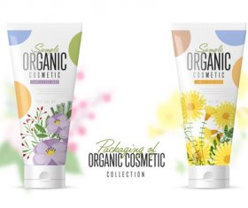 Organic cosmetic collection vector