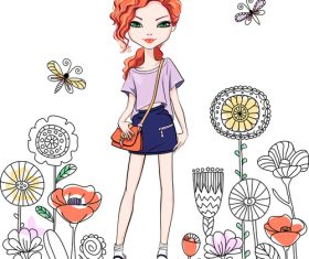Outing girl cartoon vector