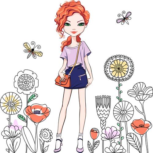 Outing girl cartoon vector