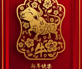 Ox year 2021 happy new year vector