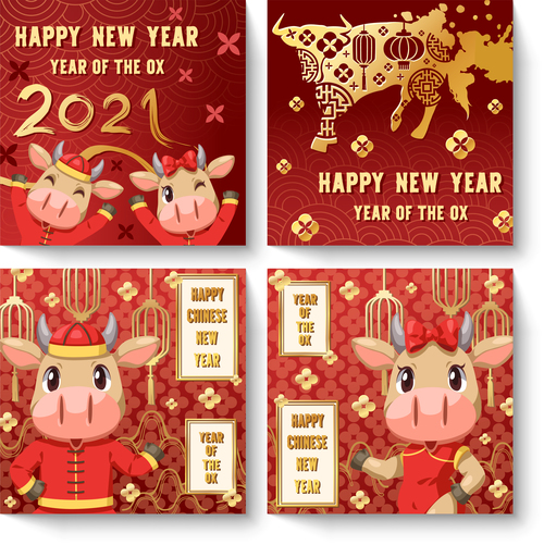 Ox year cartoon new year greeting card vector