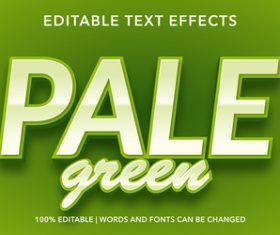 Pale green editable font effect text vector