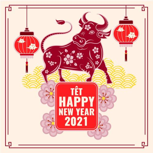 Paper cut new year card vector