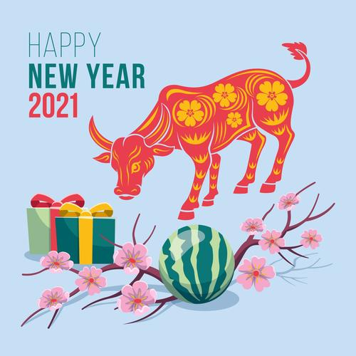 Paper cut pattern new year 2021 greeting card vector
