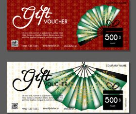 Paper fan background gift card voucher vector