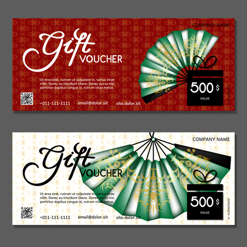 Paper fan background gift card voucher vector