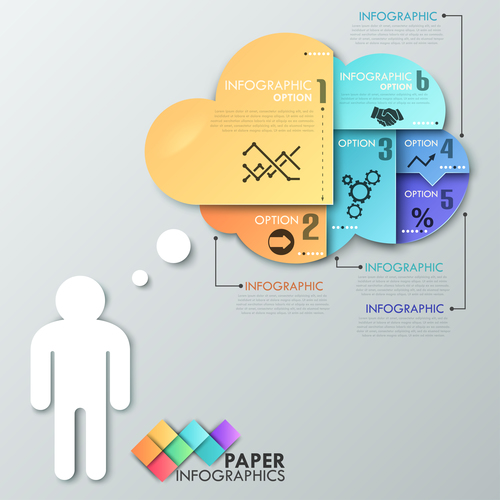 Paper infographic template vector