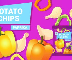 Paprika potato chips poster vector