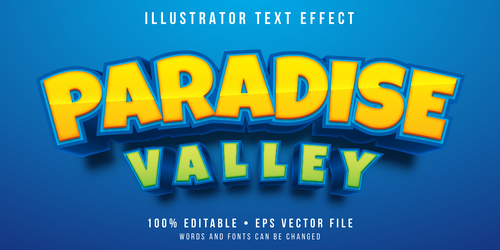Paradise valley 3d editable text style effect vector