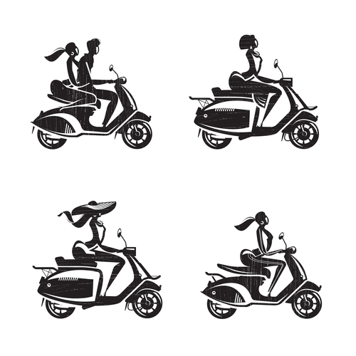 People silhouette vector riding scooter