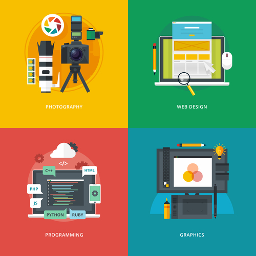 Photography flat template vector