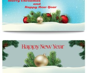 Pine branches and colored balls new years card banner vector