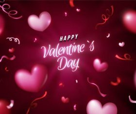 Pink valentine's day greeting card vector