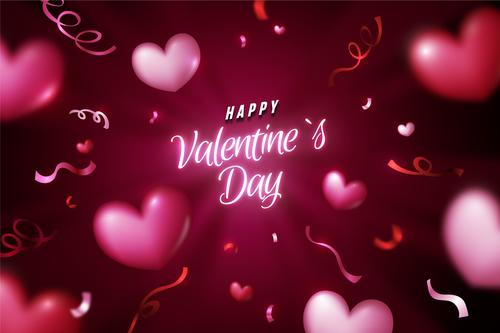 Pink valentines day greeting card vector