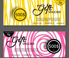 Pink yellow background gift card voucher vector