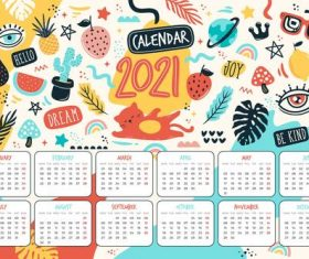 Plant background 2021 new year calendar vector
