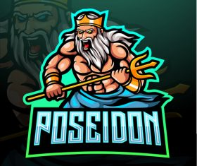 Poseidon game mascot design vector