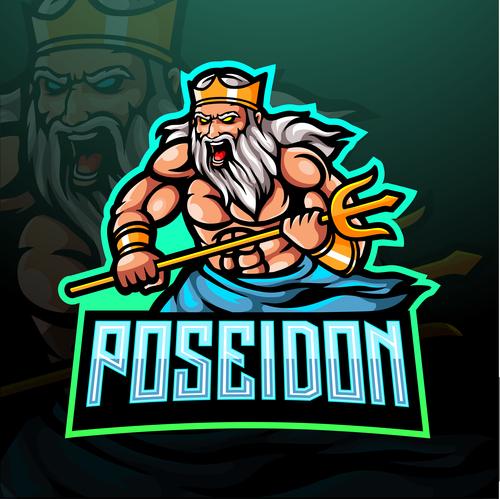 Poseidon game mascot design vector