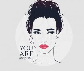Positive female portrait vector