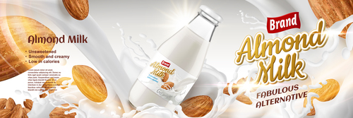 Premium almond milk advertising vector