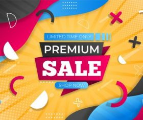 Premium sale geometric background flyer vector