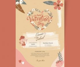 Pretty Valentines Day postcard vector