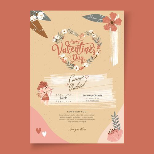 Pretty Valentines Day postcard vector
