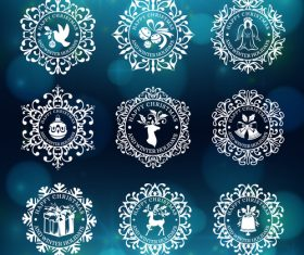 Pretty christmas badges vector