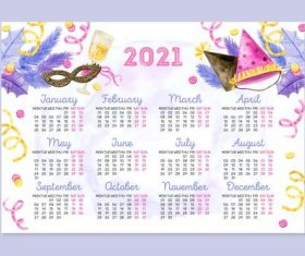 Pretty watercolor new year 2021 calendar vector
