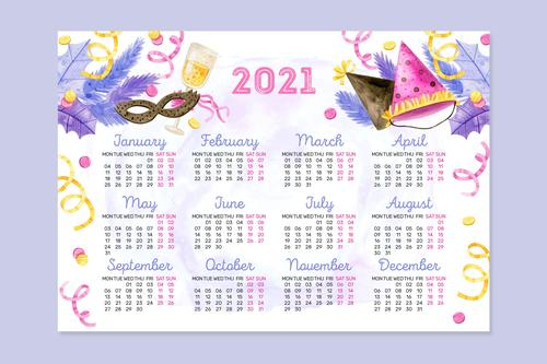 Pretty watercolor new year 2021 calendar vector