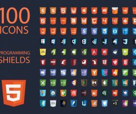 Programming shields icon set vector