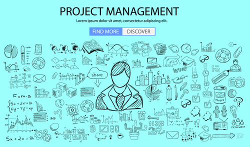 Project management background information vector