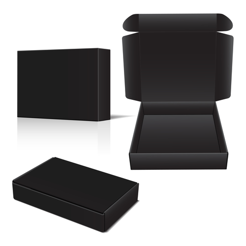 Pure black goods packaging box vector