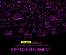 Purple app development sketch concept vector