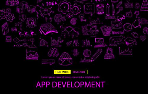 Purple app development sketch concept vector