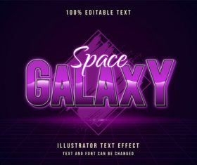 Purple editable font effect text vector on black background