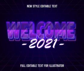 Purple gradient font text style effect vecto