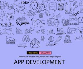 Purple sketch concept app develppment information vector