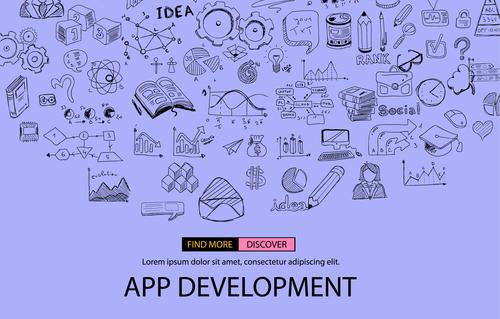 Purple sketch concept app develppment information vector