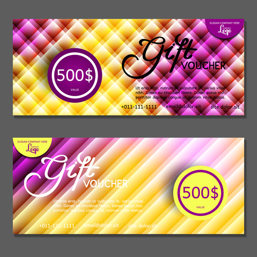 Purple yellow background gift card voucher vector