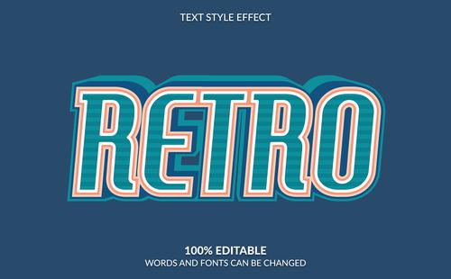 RETRO 3d editable text style effect vector
