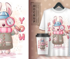 Rabbit illustration and merchandising mockup print t-shirt vector