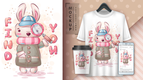 Rabbit illustration and merchandising mockup print t shirt vector