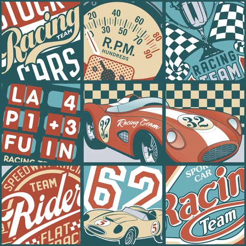 Racing label vector