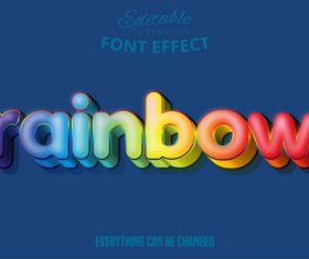 Rainbow text style effect vector