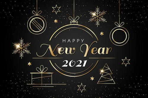 Realistic golden decoration new year 2021 background vector