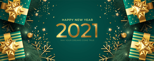 Realistic happy new year banner with green golden gifts vector
