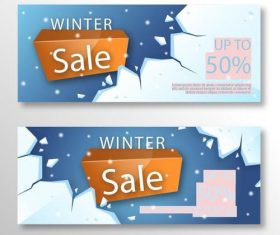 Realistic winter sale banner vector